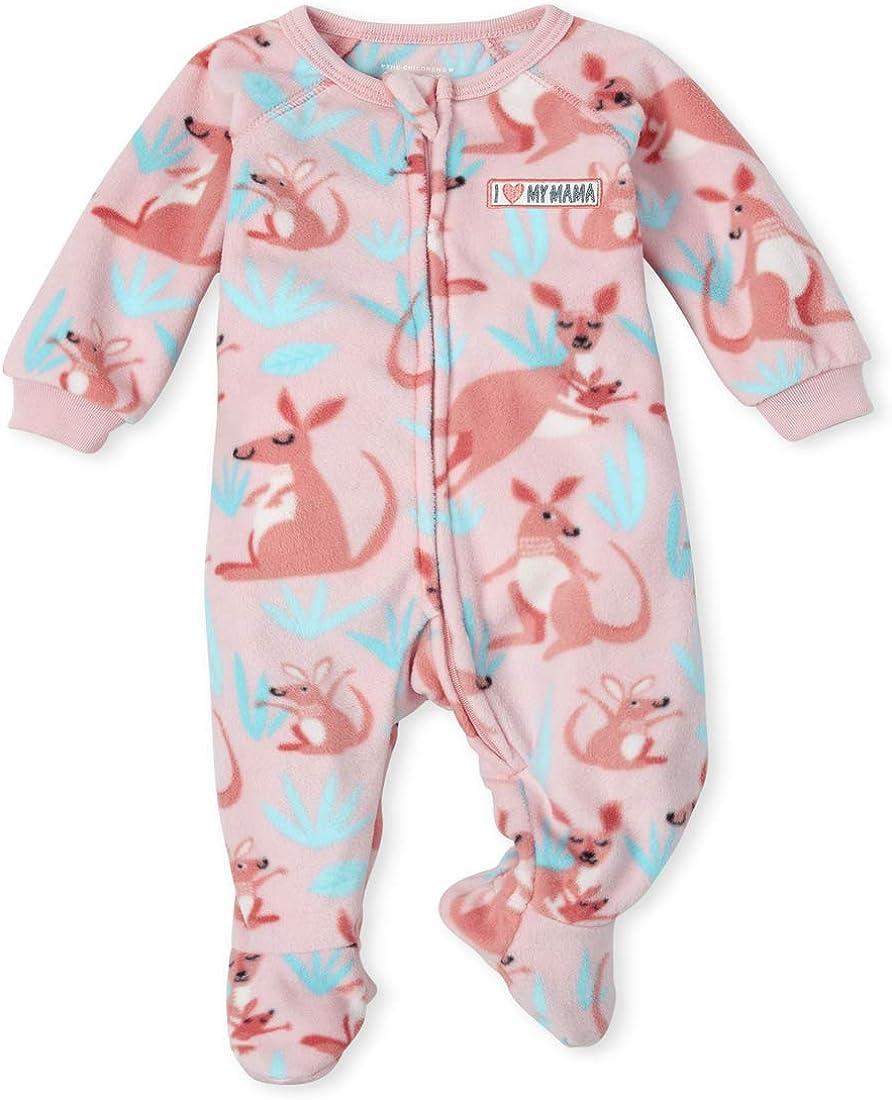 The Children's Place Girls' Baby and Toddler Kangaroo Fleece One Piece Pajamas