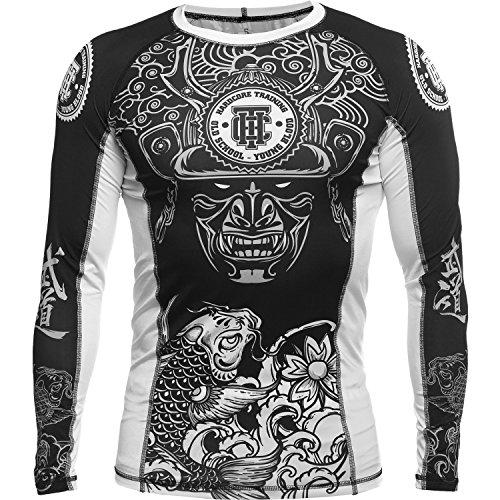 Hardcore Training Rash Guard For Men - Compression Shirt - Long Sleeve MMA Fitness Gym Crossfit-White-l Camisa de Compresión