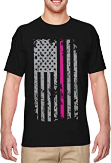 Pink Line Silver American Flag - Breast Cancer Men's T-Shirt