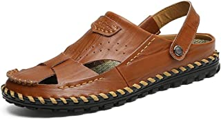 Xiang Ye Sandals for Men Fashion Slipper Shoes Slip On Style OX Leather Hollow Dual Purpose (Color : Brown, Size : 7 UK)