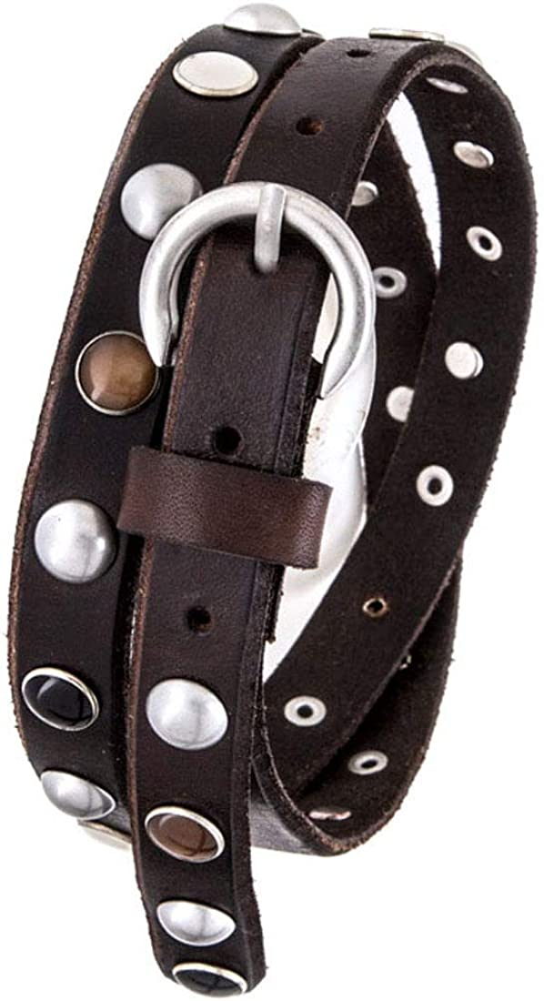 Brown Mix Stones Limited price sale Studded Genuine Skinny Challenge the lowest price of Japan ☆ Belt Leather Large