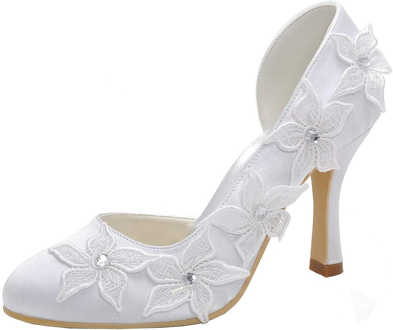 Charmstep Damen Braut Hochzeit Schuhe Schuhe Schuhe Satin Stiletto High Heel Pumps Blaume Applique Prom Party Schuhe MZ722  bafa24