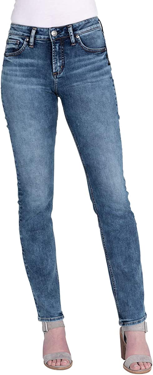 Silver Jeans Co Womens Avery Curvy Fit High Rise Straight Leg Jean