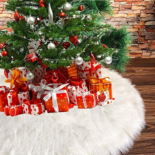 iCoostor Faux Fur Christmas Tree Skirt 35 Inch/90CM, Large Snowy White Xmas Tree Plush Skirt for Indoor and Outdoor Decoration, Decorative Holiday Party Decorations