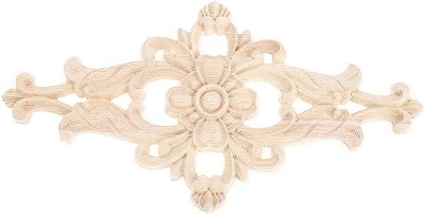 MUXSAM 4pcs Unpainted Wood Carved Corner Onlay Applique Frame Furniture Home Decor 21x15cm