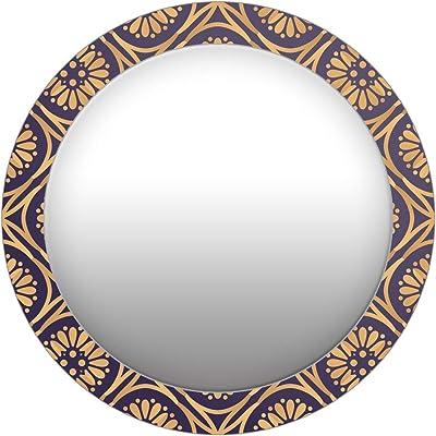999Store Printed Yellow Flowers Pattern Round Mirror (MDF_17X17 Inch_Multi)