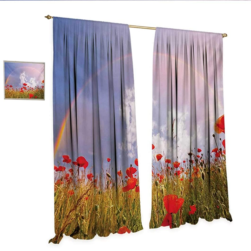 WinfreyDecor Poppy Decorative Curtains for Living Room Meadow with Poppies and Rainbow Reflection in Air Magical Sky Happiness Concept Room Darkening Wide Curtains W72 x L96 Red Green Blue.jpg