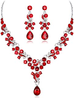 YINLI Austrian Crystal Flower Teardrop Necklace Earrings Set Fashion Jewelry Bridal Wedding
