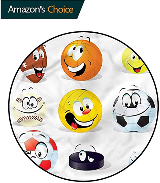 RUGSMAT Sports Machine Washable Round Bath Mat Smiling Happy Cartoon Balls Indoor Outdoor Round Area Rug Diameter 71