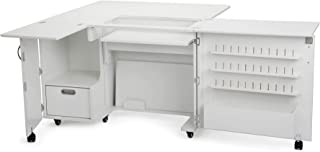 Arrow K8411 Wallaby II Kangaroo Sewing, Cutting, Quilting, Crafting Cabinet and Table, Includes Storage and Airlift, Portable with Wheels White Ash Finish