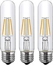 T10 Led Bulb, 4W Tubular Led Bulb, Dimmable Led Edison Bulb,Led Filament Bulb, T10 Nostalgic Led Bulb, E26 Medium Base, 40 Watt Bulb Equivalent, 2700K Warm White,400LM, 3 Pack