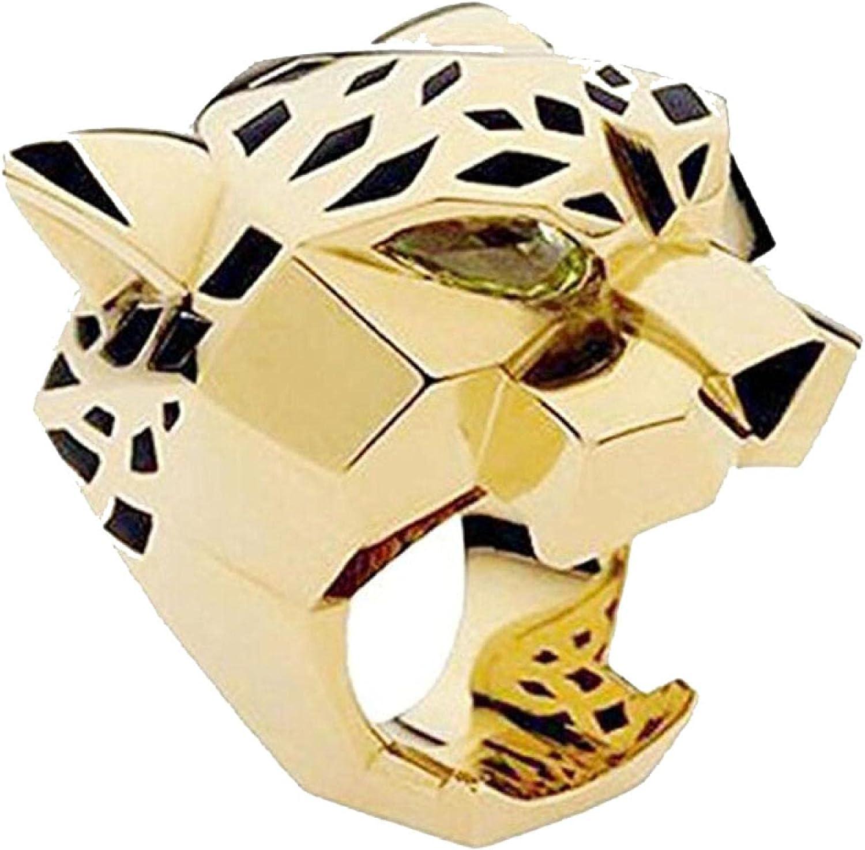Leopard Man Woman Statement Ring Green Zircon Eyes ring