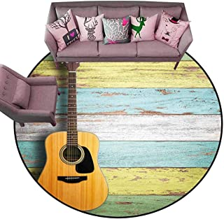 Floor mats for Kids Music Decor,Acoustic Guitar on Colorful Painted Aged Wooden Planks Rustic Country Decor,Multicolor Diameter 60