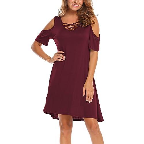 0cd990a21c1 BLUETIME Women Summer Cold Shoulder Plus Size Criss Cross Neckline Short  Sleeve Casual Tunic Top Dress