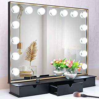 BEAUTME Lighted Vanity Mirror with Storage Box,Tabletop Hollywood Makeup Mirror with 15pcs lights,Detachable 10X Cosmetic ...
