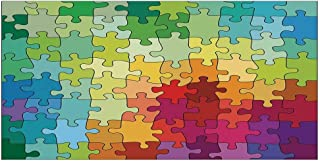 MOOCOM Abstract Stylish Floor Sticker,Colorful Puzzle Pieces Fractal Children Hobby Activity Leisure Toys Cartoon Image for Kitchen Living Room,47.2