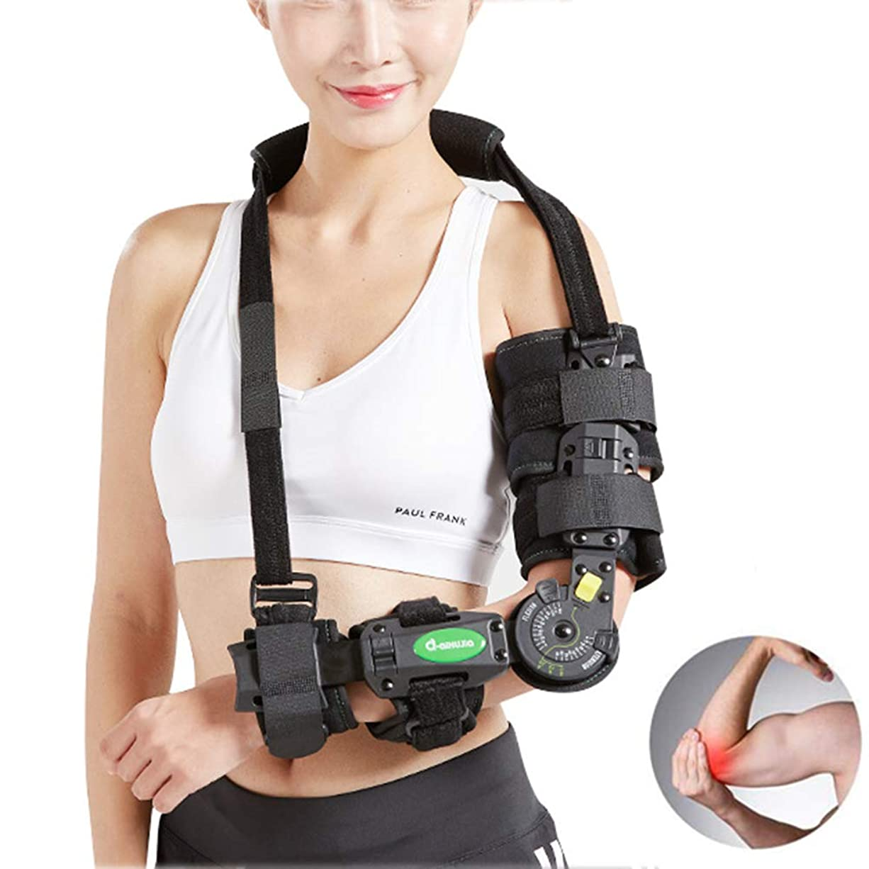 アデレード匹敵しますエンジニア調整可能なアームスリングヒンジ付き肘ブレースサポート、術前?術後支援サポート&骨折した腕の上昇、外傷回復、腕固定ワンサイズ - ユニセックス