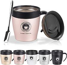 Vabaso 330ml Termo de café para llevar con cucharita de cafe y tapa, Acero inoxidable de doble pared, Taza de café térmica para té, bebidas frías y calientes, oro rosa