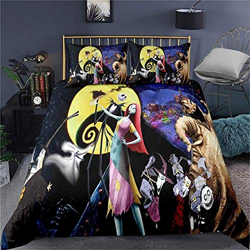 Not Branded HMT NF Movie Characters Jack Sally Bedding Set Queen Size The Nightmare Before Christmas Duvet Cover Set Halloween 1 Duvet Cover, 2 custodie per pillowcase