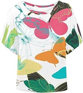 Women O Neck Blouse Palm Leaves Bat Wing Loose Top Shirt