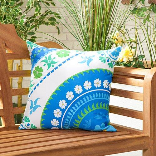 Gardenista Cojín Relleno Resistente al Agua y para Exteriores | Diseño con Patrones Coloridos | Accesorio para Muebles de Jardín| Almohadas Decorativas de | 45 x 45 cm (Flower Blue)
