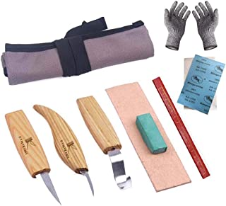6 Pcs Wood Carving Tools Set for Spoon Carving Hook Knife,Sloyd Whittling Knife, Chip Detail Knife,Tools Roll,Leather Strop, Polishing Compound,Cut Resistant Gloves Carpenter Pencil Woodworking Craft