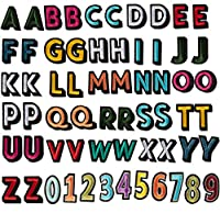 アルファベット文字と数字パッチ 62ピース - 刺繍アイロン接着アップリケ 帽子 ジャケット シャツ ジーンズ DIYクラフト 2セット 26文字と1セット 1.4 x 1インチ