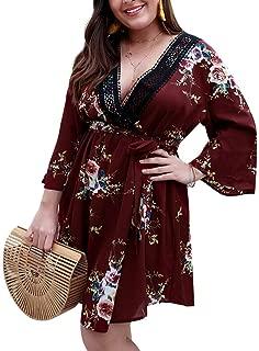 Women's Plus Size Floral Dresses Lace V-Neck 3/4 Long Sleeves Bohemian Belt Tie Wrap Casual Summer Party Beach Dress