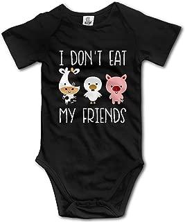 Ghhpws I Don't Eat My Friends Baby's Onesie Unisex Short Sleeve Comfortable Bodysuit Outfits Black