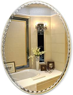 Qing MEI Oval Wall-Mounted Lace Bathroom Mirror Frameless Bathroom Mirror Bathroom Vanity Mirror Toilet Mirror (Size : 45x60cm)
