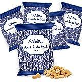 Logbuch-Verlag Give-Away 25 Erdnusstütchen 20 g Erdnüsse gesalzen Tisch-Deko SCHÖN DASS DU DA BIST weiß blau maritim Gastgeschenk Snack Kommunion Hochzeit Firmung