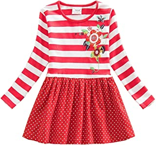 Toddler Girl Cotton Flower Long Sleeve Dress Wave Point Cartoon White Rabbit Bow for 3-8 Years LH4829