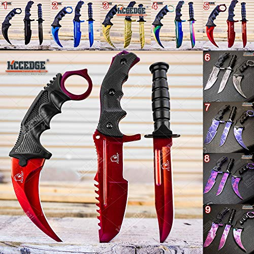 KCCEDGE BEST CUTLERY SOURCE Tactical Knife Survival Knife Hunting Knife Fixed Blade Knife Combo Razor Sharp Edge Camping Accessories Camping Gear Survival Kit Survival Gear Tactical Gear 52319 (Red)