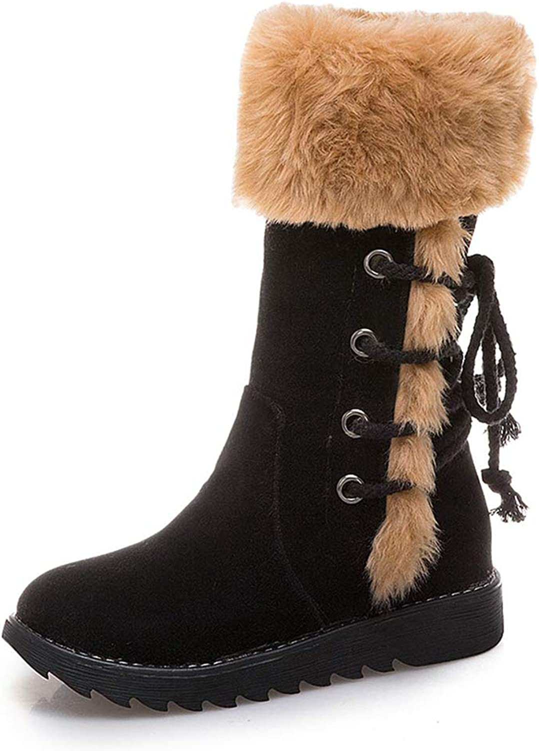 Womens Mid Calf Snow Boots Imitated Suede Upper Winter Short Plush Warm Girls Booties Comfortable Platform shoes