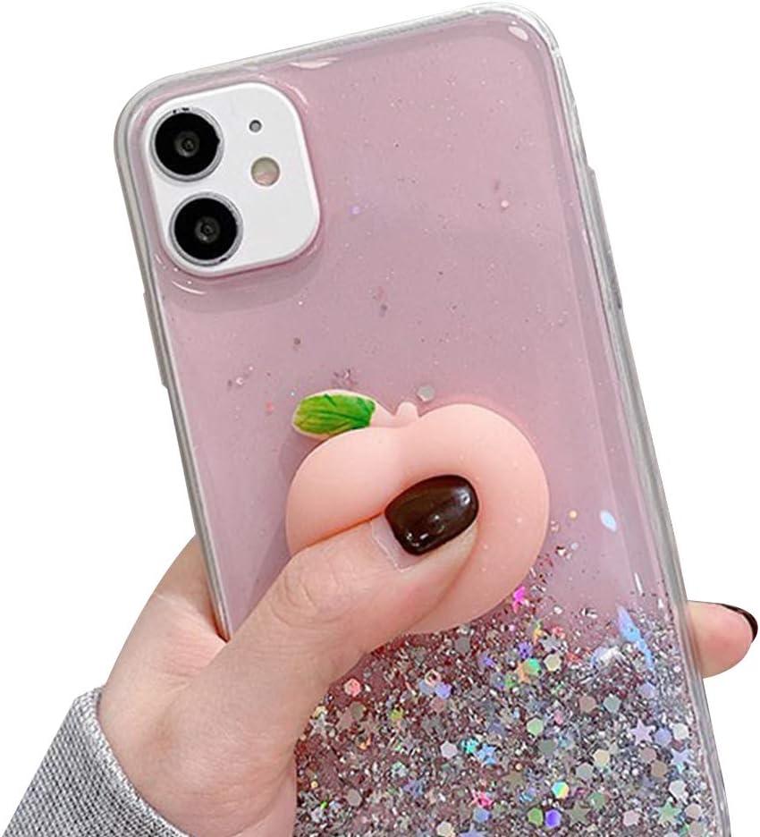 WHH Decompression Finger Pinch Cute for iPhone 8 Plus Case Soft Squishy 3D Peach Fruit Protective Kawaii for iPhone 7 Plus Case (Glitter Peaches, iPhone 7 Plus 8 Plus)