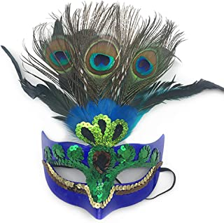 Peacock Feather Mask,Makeup Mask Prom Mask Party Mask Venetian Masquerade Mask for Womens Blue