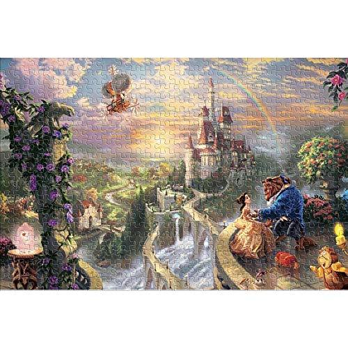 YYCCUI 1000 Piezas de Rompecabezas para Adultos Castle Beauty and The Beast Puzzle clásico 1000 Divertido Rompecabezas para Adultos 1000 Piezas 38x26cm