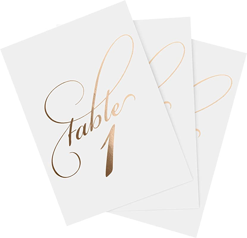 Bliss Collections Rose Gold Wedding Table Numbers 1 40 And Head Table Card Included Double Sided 4x6 Calligraphy Design Made In The USA