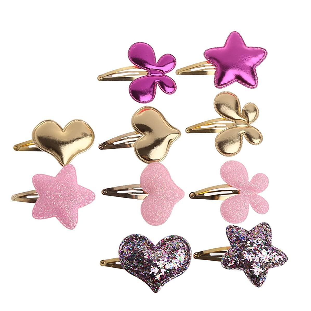 Simdoc 10 Pcs/set Baby Girls Hair Clip Butterfly Hearts Stars BB Hair Clip Synthetic Leather Hairpin Snap Barrette Hair Accessories For Girls Babies Toddlers Teens Gifts,Random Color