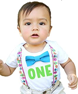 Noah's Boytique First Birthday Outfits Boy One Bow Tie Supenders One