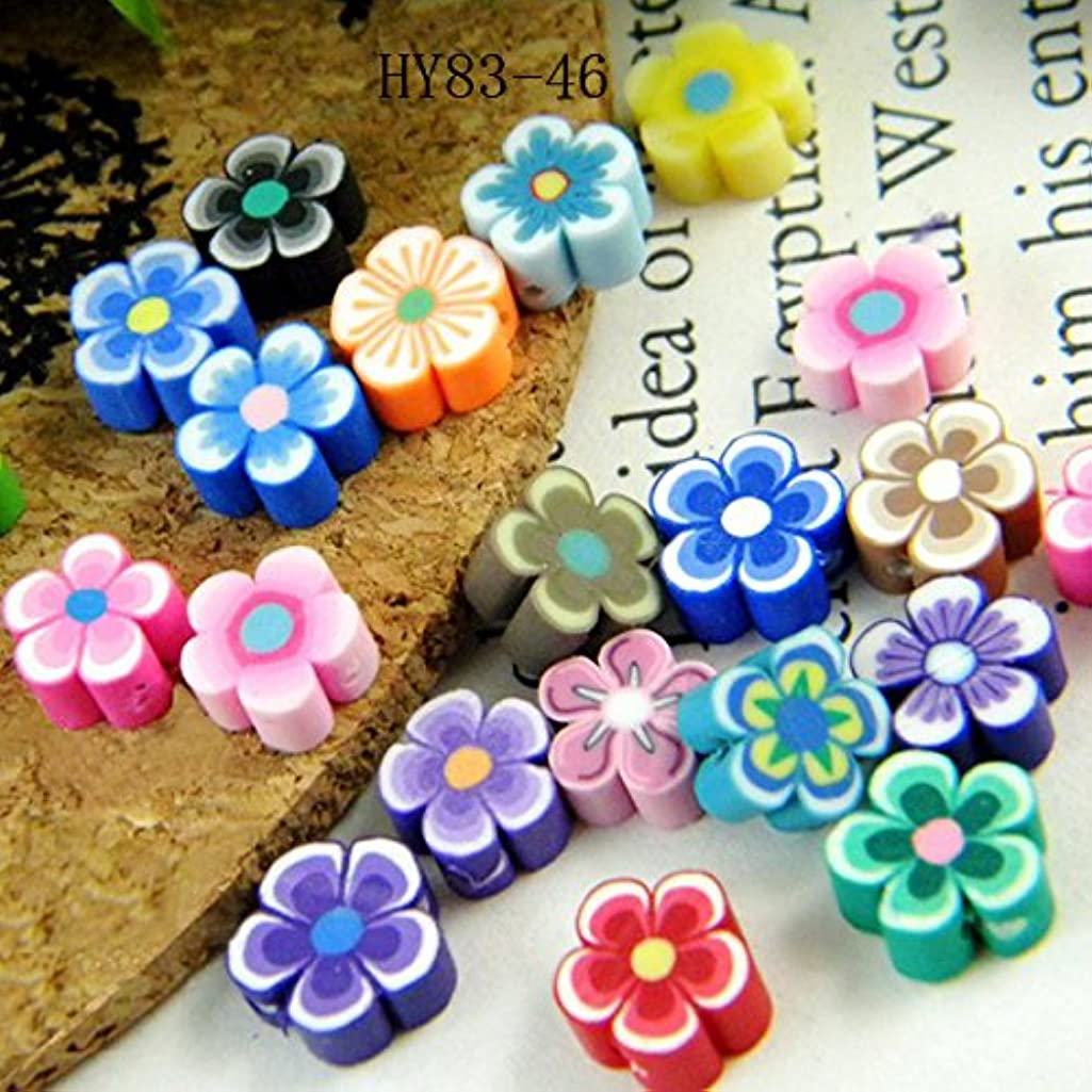 HYBEADS 100per 8mm Mixed Fimo clay daisy flower Beads