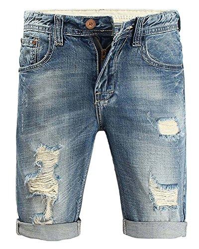 Minetom Moda Bermudas Shorts Hombre de Estilo Jeans Pantalón Roto Stretch de Vintage Slim Fit Vaqueros Cortos Azul 42