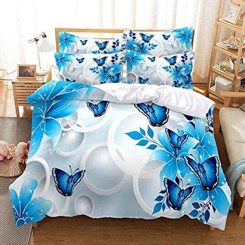 Eiuyhs Blue Butterfly Duvet Cover Set King Size Beautiful Watercolor Butterfly Bedding Set 1 Comforter Cover and 2 Pillow Shams(NO Comforter)
