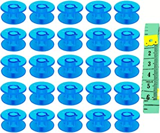 CHuangQi 25 Pcs Plastic Bobbins with Case and Measuring Tape for Sewing Machine