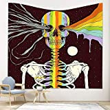 PuzCub Trippy Skeleton Skull Tapestry Wall Hanging Colorful Rainbow Pigment Splatter Painting Moon Stars Tapestry for Bedroom Living Room Dining Room Décor
