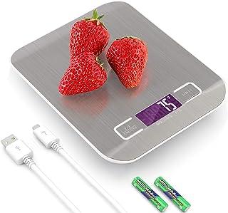 RangTouek Balance de Cuisine Electronique USB Rechargeable 10kg/1g, Balance Cuisson Numérique en Acier Inoxydable avec Ecr...
