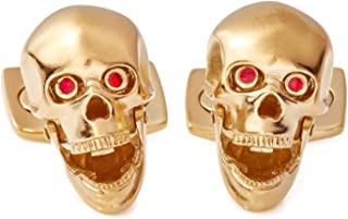 Deakin and Francis Yellow Gold Plated Skull Cufflinks