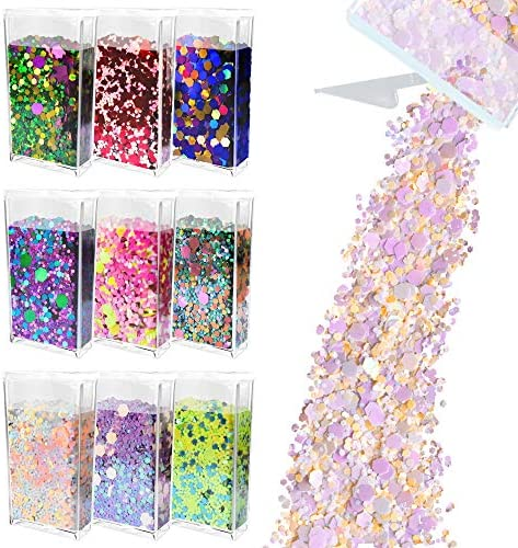 Glitter Wenida 9 Colors 105g Holographic Iridescent Multicolor Festival Sequins Craft Chunky product image
