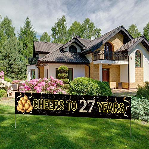 Large Cheers to 27 Years Banner, Black Gold 27 Anniversary Party Sign, 27th Happy Birthday Banner(9.8 X 1.6 feet)