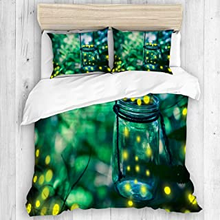COVASA Duvet Cover Set, Green Bokeh Firefly in Jar Bugs Captured Catch Covering Dusk, Decorative 3 Piece Bedding Set with 2 Pillow Shams